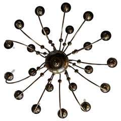 21-Arm Solid Brass Chandelier by Feldman, CA, 1980s