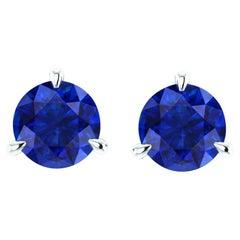 2.1 Carat Blue Sapphires Martini Ear Studs Platinum