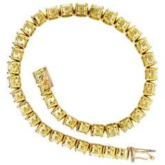 21 Carat Cushion Cut Natural Yellow Diamonds Bracelet 18 Karat