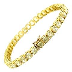 21 Carat Cushion Cut Natural Yellow Diamonds Bracelet 18k