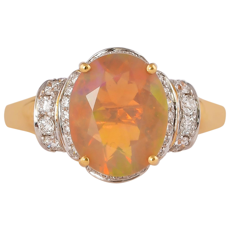 2.1 Carat Ethiopian Opal with Diamond Ring in 18 Karat Yellow Gold