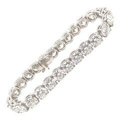 21 Carat Ideal Brilliant Round Cut Diamond Platinum Tennis Bracelet