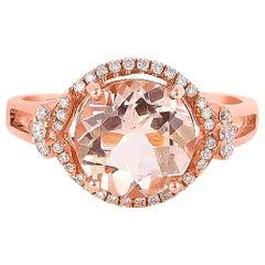 2.1 Carat Morganite and Diamond Ring in 18 Karat Rose Gold