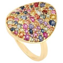 Multi Sapphire Rainbow Diamond 18 Karat Gold Cocktail Ring