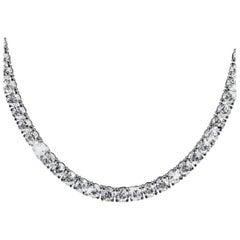 21 Carat Natural Untreated Diamond Tennis Necklace 18 Carat White Gold