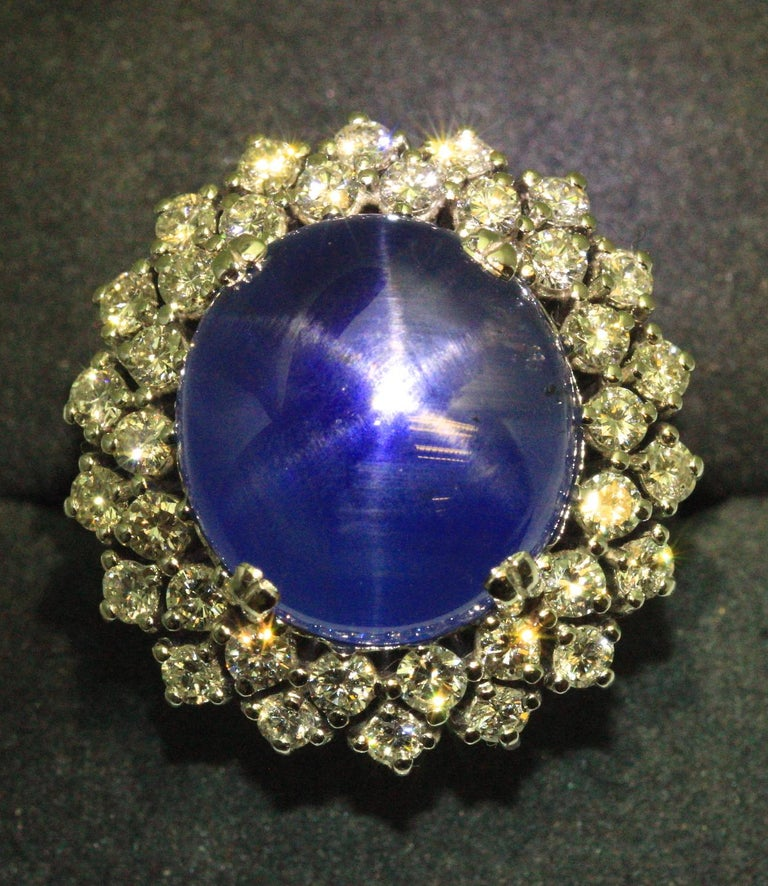 21 Carat Vintage Star Sapphire and Diamond Cluster White Gold Cocktail Ring For Sale 5