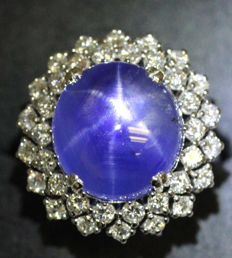 21 Carat Vintage Star Sapphire and Diamond Cluster White Gold Cocktail Ring For Sale 6