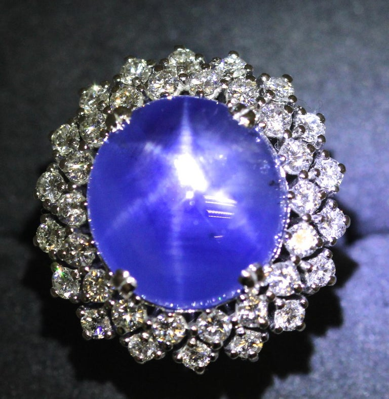 21 Carat Vintage Star Sapphire and Diamond Cluster White Gold Cocktail Ring For Sale 7