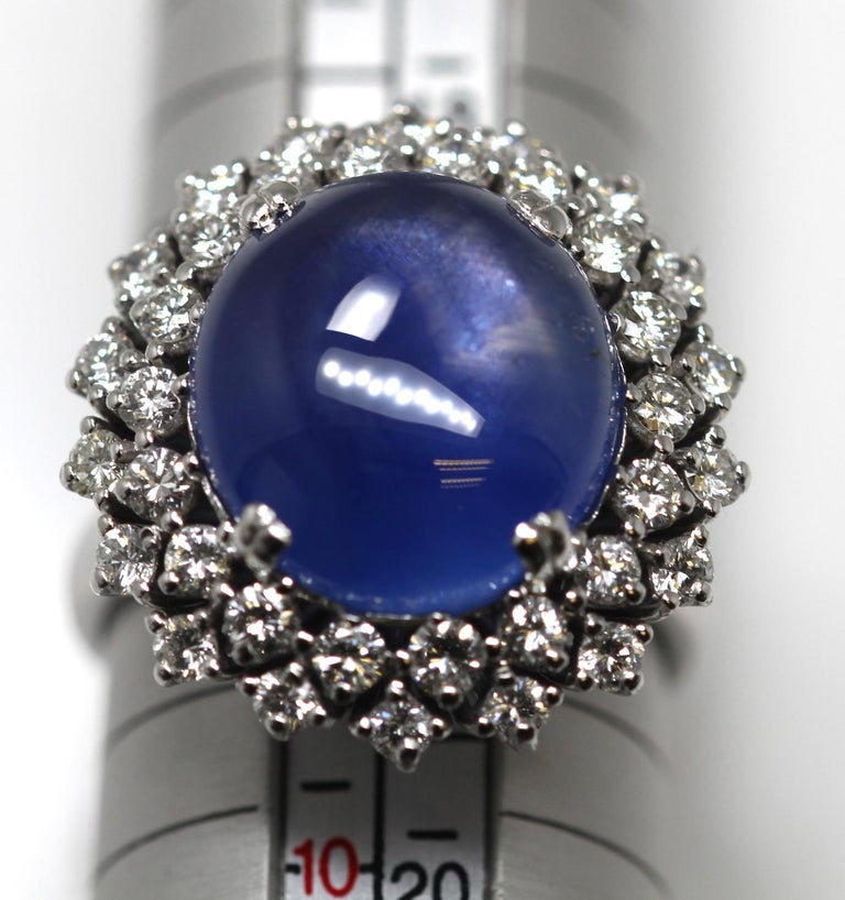 21 Carat Vintage Star Sapphire and Diamond Cluster White Gold Cocktail Ring For Sale 8