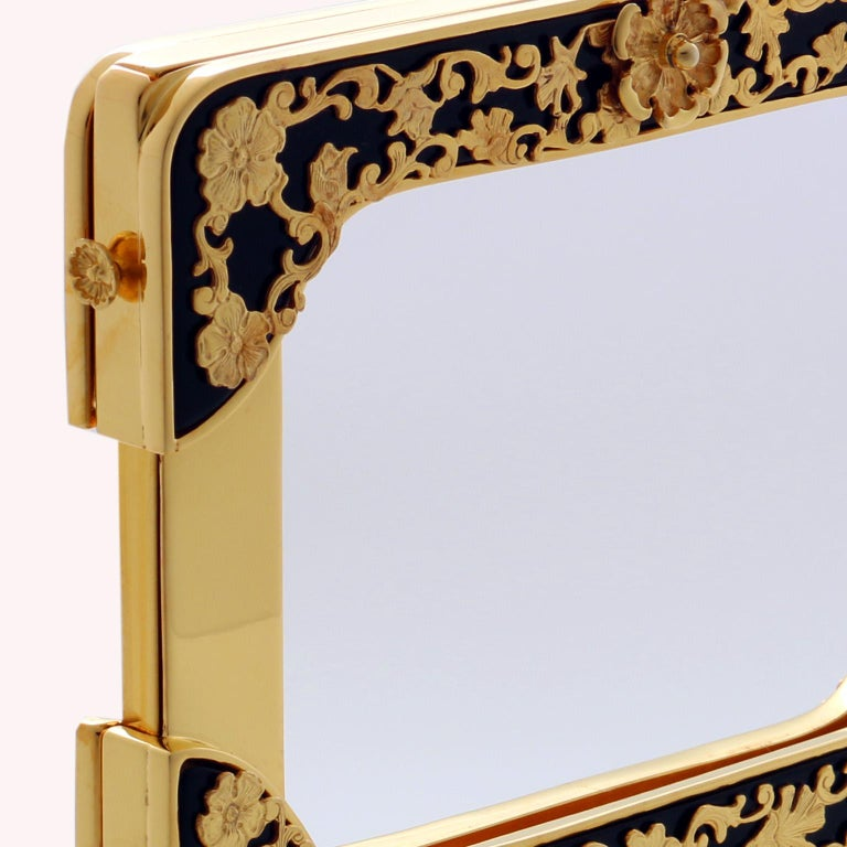 Arts and Crafts 21 Century Gilt Silver Floral Double Picture Frame, Reflection Noir For Sale