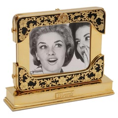 21 Century Gilt Silver Floral Double Picture Frame, Reflection Noir
