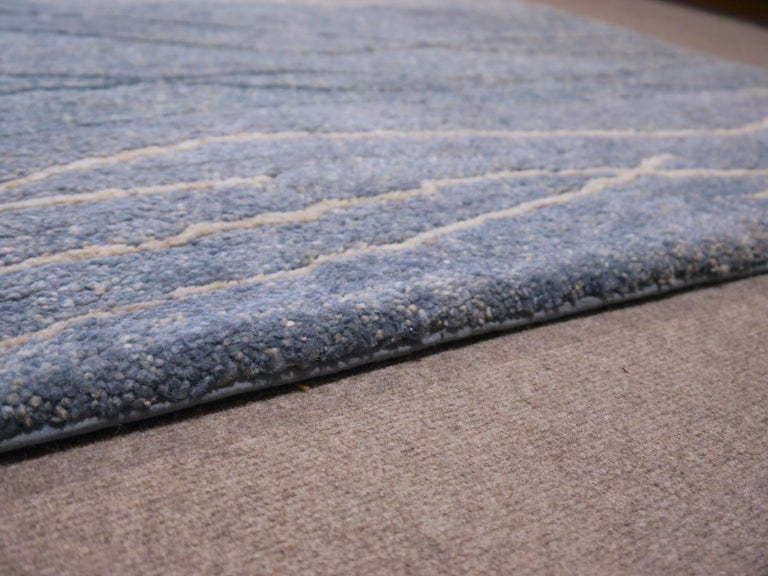 Contemporary 21st Century Modern Tibetan Rug Wool Hand Knotted Blue 6 x 4 ft For Sale