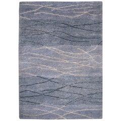 21st Century Modern Tibetan Rug Wool Hand Knotted Blue 6 x 4 ft