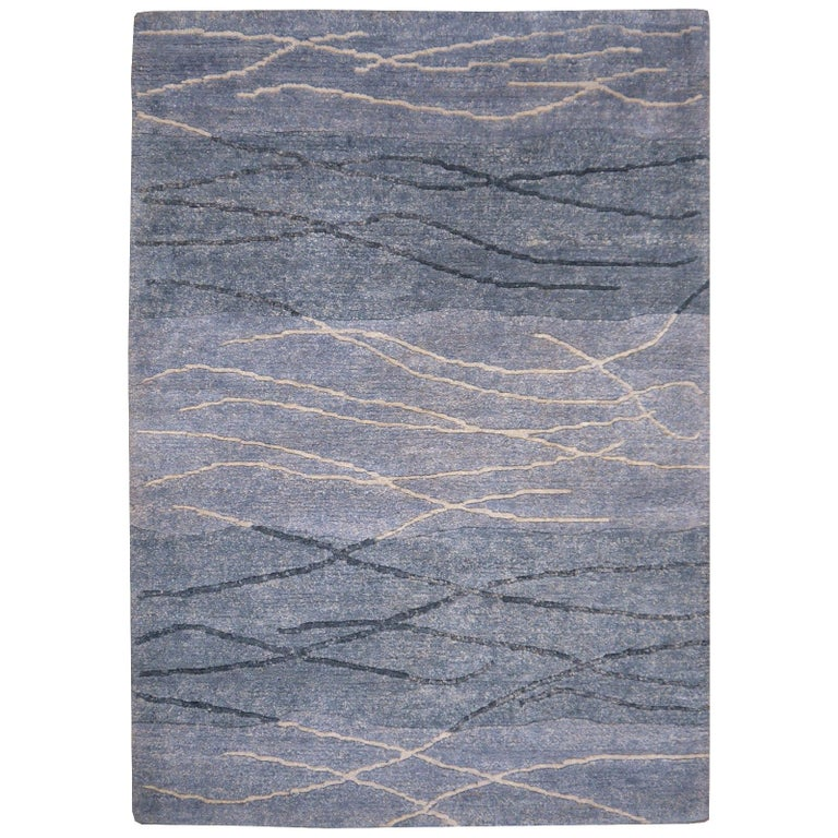 21st Century Modern Tibetan Rug Wool Hand Knotted Blue 6 x 4 ft For Sale