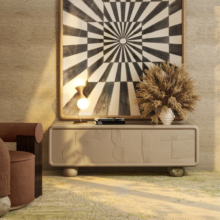 21st Century Mon Ohh Sideboard Monochromatic Lacquered Wood In New Condition For Sale In RIO TINTO, PT
