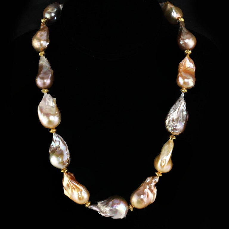 Artisan Gemjunky Natural Multi tone Luscious, Lustrous Baroque Pearl Necklace For Sale