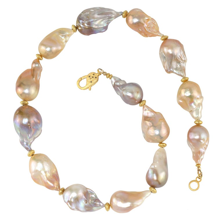 Bead Gemjunky Natural Multi tone Luscious, Lustrous Baroque Pearl Necklace For Sale