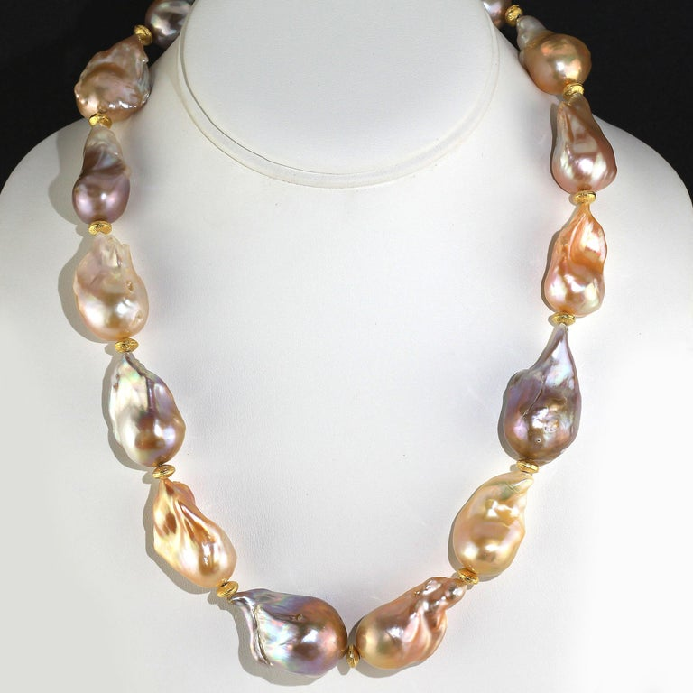 Women's or Men's Gemjunky Natural Multi tone Luscious, Lustrous Baroque Pearl Necklace For Sale