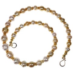 White and Gold Baroque Pearls with Gold Accents Necklace