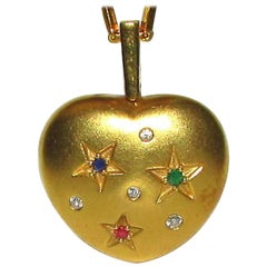 21 Karat and 18 Karat Gold Vintage Heart Necklace