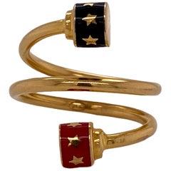 21 Karat Yellow Gold Black and Red Enamel Coil Wrap Ring Modern