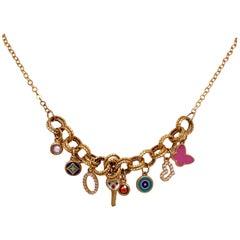 21 Karat Yellow Gold Enamel Charm Drop Necklace
