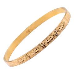 21 Karat Yellow Gold Ornate Bangle Bracelet