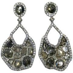 21 Multicolored Diamond Earrings with Custom 18 Karat White Gold Setting