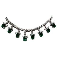 21 Round Emerald Cleopatra Necklace