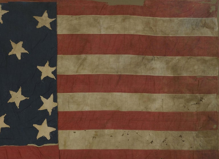21-Star American Flag, Civil War Era, Antique Exclusionary Flag, circa 1861 In Good Condition For Sale In Colorado Springs, CO