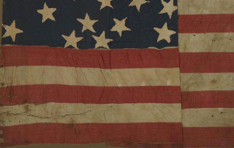 Mid-19th Century 21-Star American Flag, Civil War Era, Antique Exclusionary Flag, circa 1861 For Sale