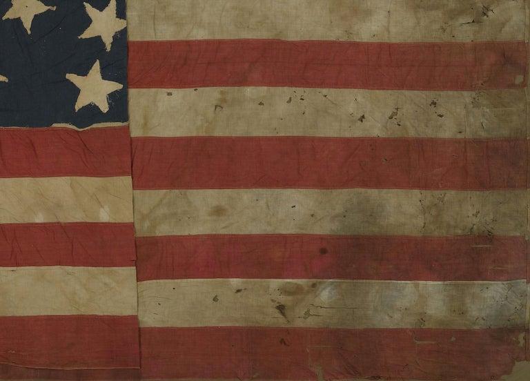Linen 21-Star American Flag, Civil War Era, Antique Exclusionary Flag, circa 1861 For Sale