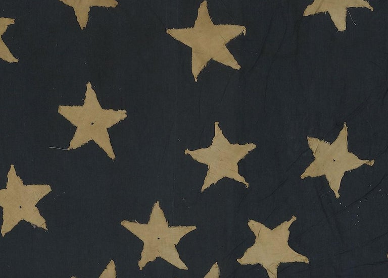 21-Star American Flag, Civil War Era, Antique Exclusionary Flag, circa 1861 For Sale 1