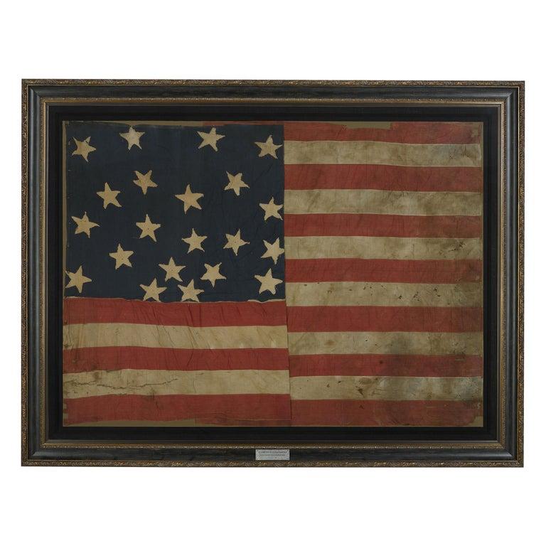 21-Star American Flag, Civil War Era, Antique Exclusionary Flag, circa 1861 For Sale