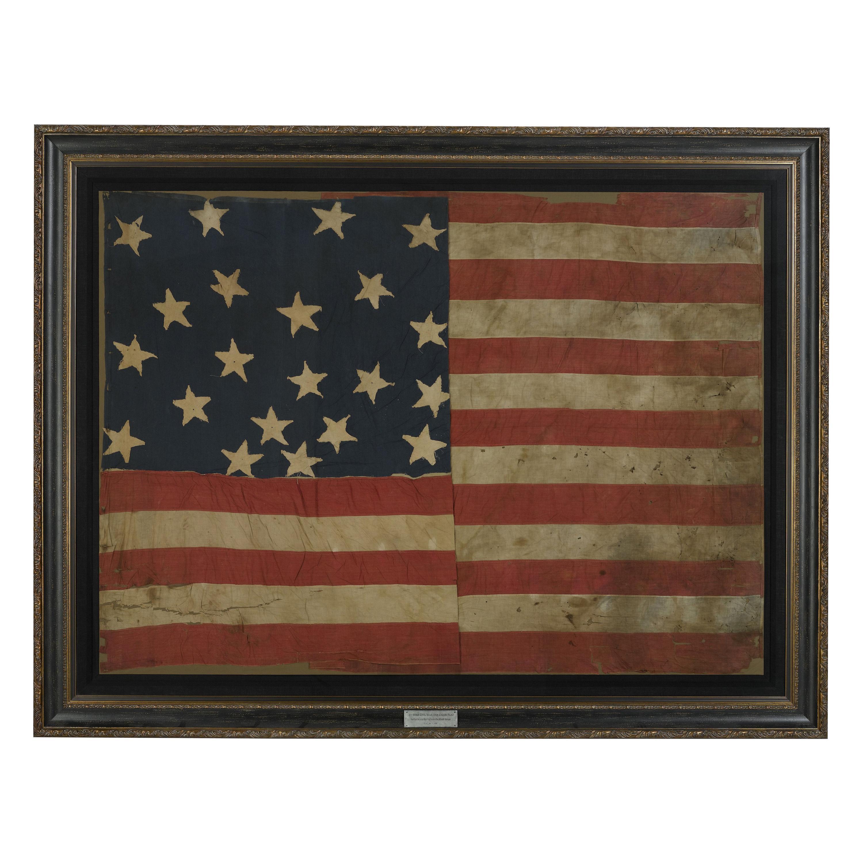 21-Star American Flag, Civil War Era, Antique Exclusionary Flag, circa 1861