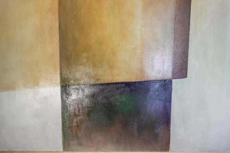 21th Century Spanish Cubist Mauve, Magenta, Purple Waxes and Encaustic Painting For Sale 4