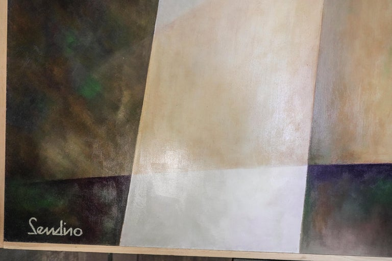 Modern 21th Century Spanish Cubist Mauve, Magenta, Purple Waxes and Encaustic Painting For Sale