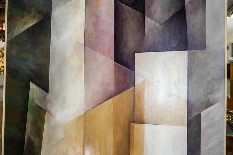 Painted 21th Century Spanish Cubist Mauve, Magenta, Purple Waxes and Encaustic Painting For Sale