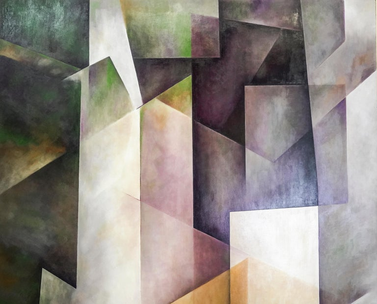 21th Century Spanish Cubist Mauve, Magenta, Purple Waxes and Encaustic Painting In Excellent Condition For Sale In Valladolid, ES