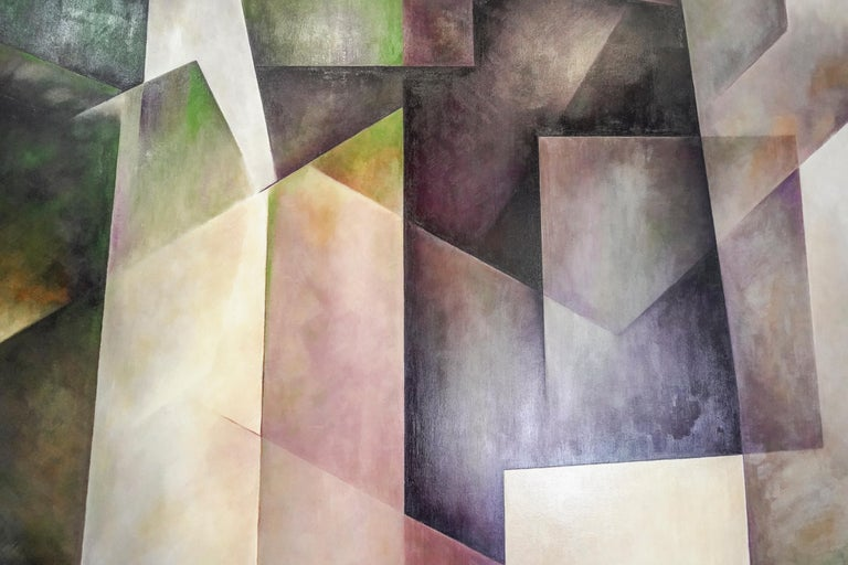 Contemporary 21th Century Spanish Cubist Mauve, Magenta, Purple Waxes and Encaustic Painting For Sale