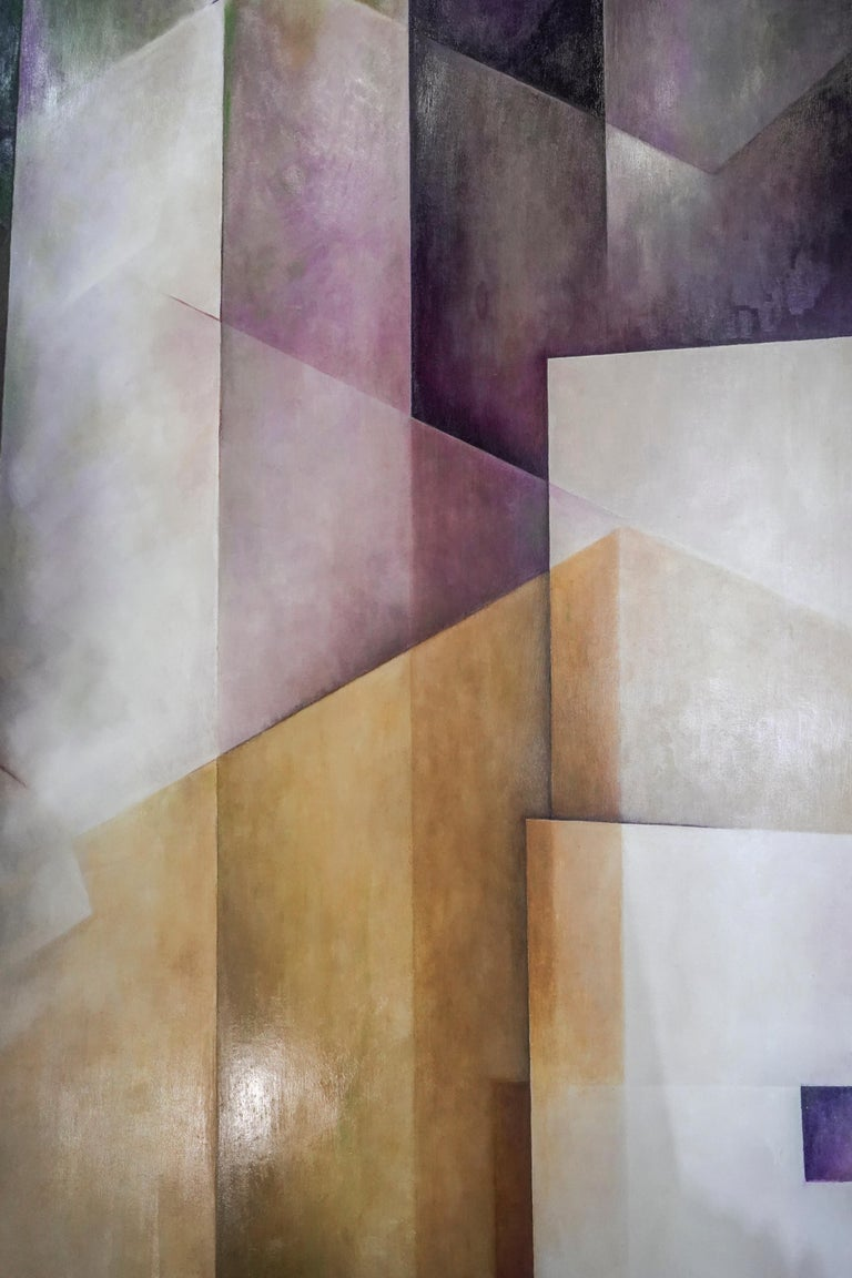 Other 21th Century Spanish Cubist Mauve, Magenta, Purple Waxes and Encaustic Painting For Sale