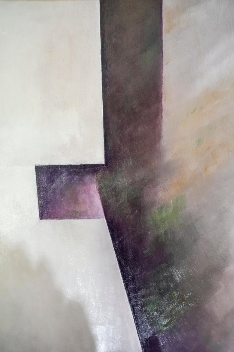 21th Century Spanish Cubist Mauve, Magenta, Purple Waxes and Encaustic Painting For Sale 1