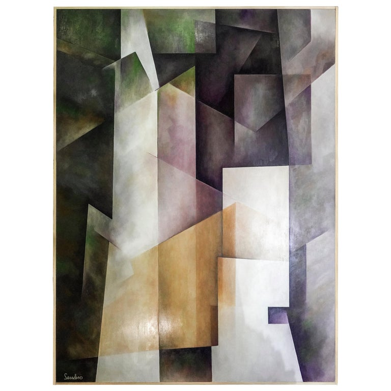 21th Century Spanish Cubist Mauve, Magenta, Purple Waxes and Encaustic Painting For Sale