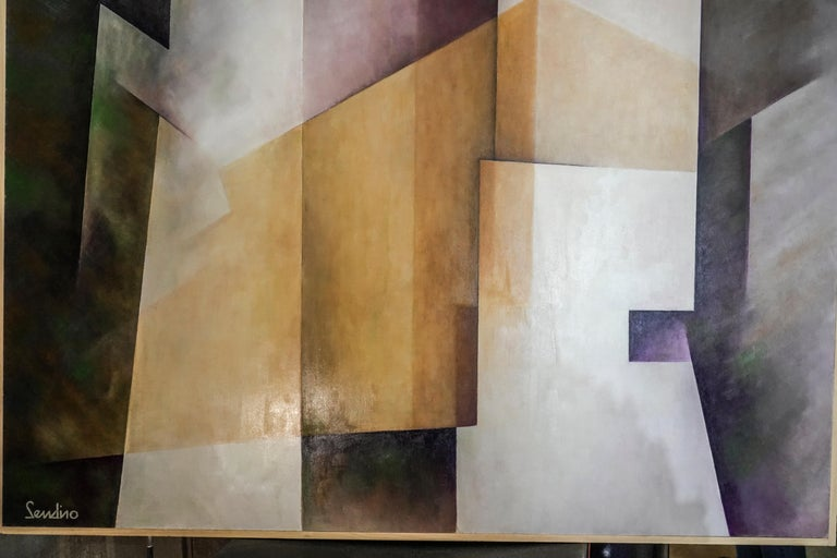 Outstanding work of art by The Spanish contemporary artist Julio Sendino who works between cubism and neoplasticism, in his palette hides a deep study of volume and color, using a n ancient technique derived from Greek and characterized by the use