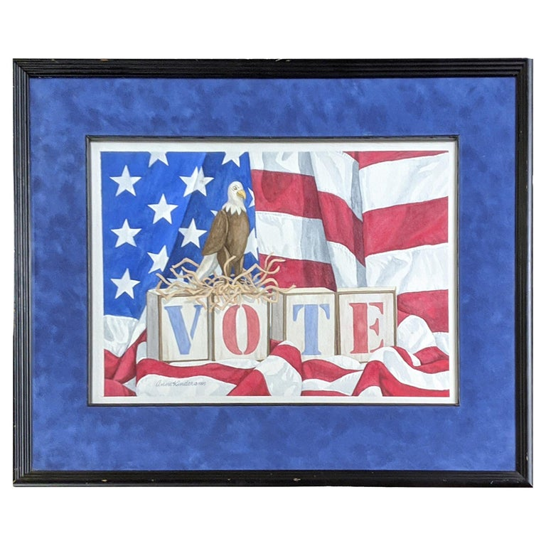 Vote Watercolor by Anne Kinder, 1999 For Sale