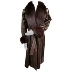 21  yves saint laurent leather coat with fox fur trim and sheared beaver size 8
