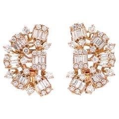 2.10 Carat Baguette Diamond 18 Karat Gold Stud Earrings
