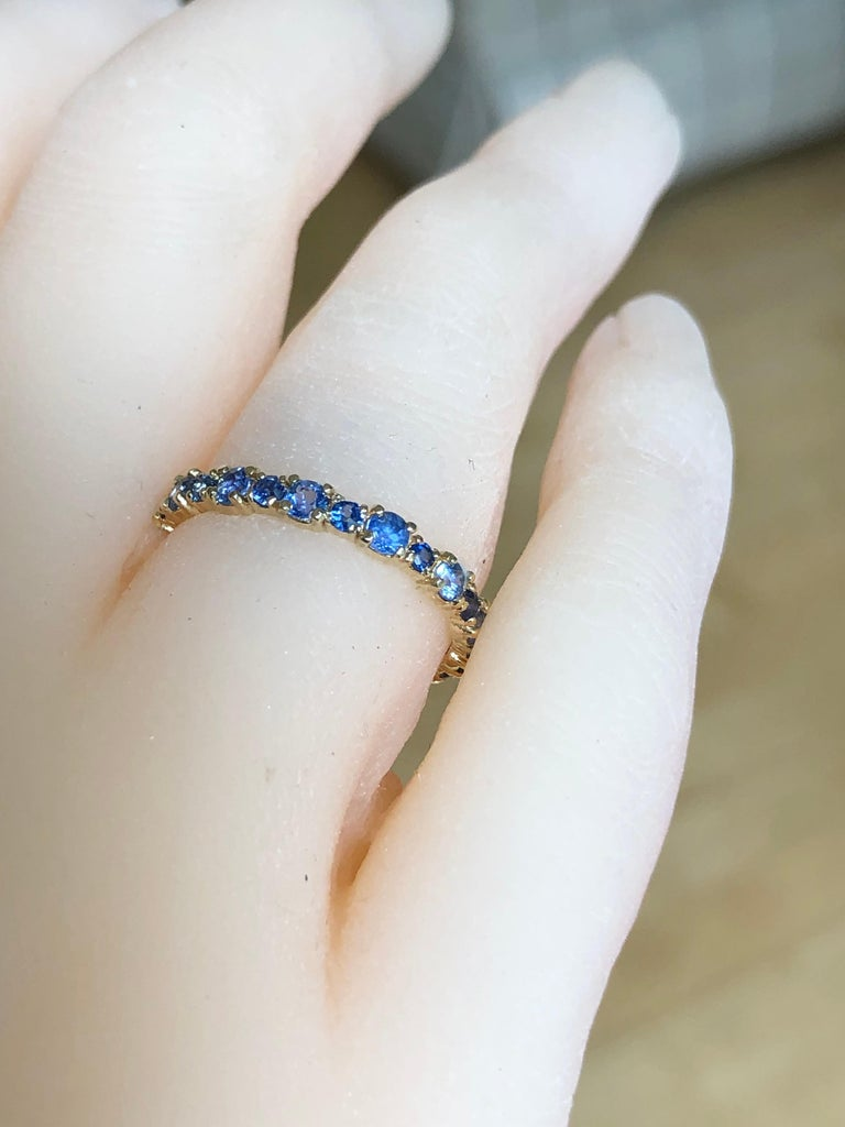 2.10 Carat Ceylon Sapphire Engagement Eternity Wedding Band Ring Gold In New Condition For Sale In Brunswick, ME