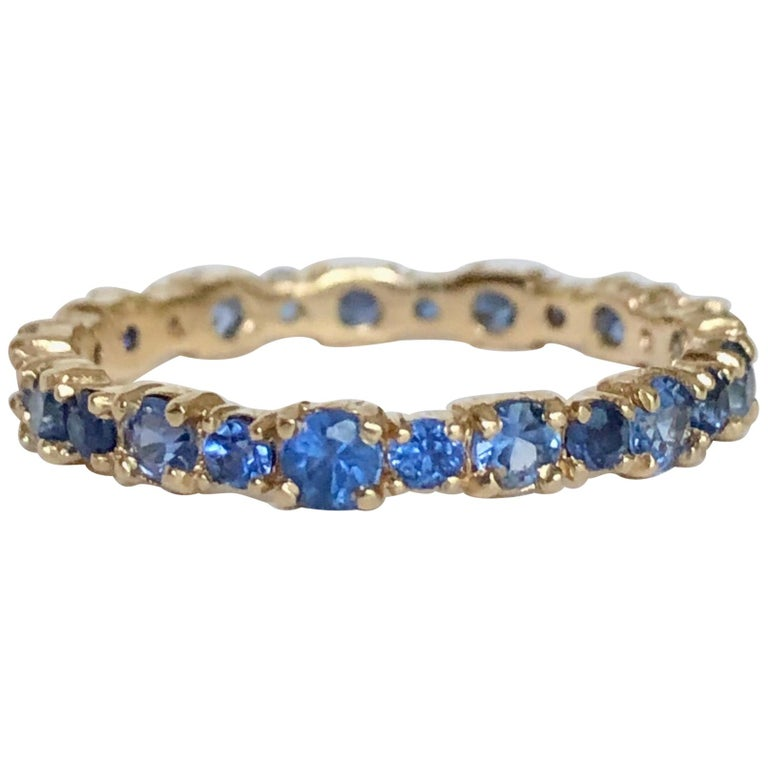 2.10 Carat Ceylon Sapphire Engagement Eternity Wedding Band Ring Gold For Sale