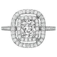 2.10 Carat Cushion Cut Diamond Engagement Ring on 14 Karat White Gold
